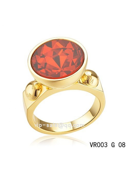 Louis Vuitton inclusion art deco Ring in gold with red SWAROVSKI crystals