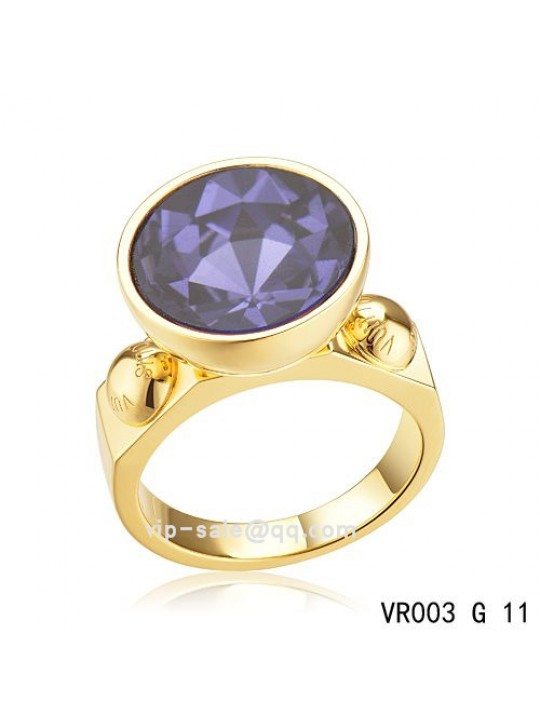 Louis Vuitton inclusion art deco Ring in gold with purple SWAROVSKI crystals