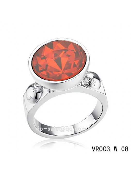Louis Vuitton inclusion art deco Ring in white gold with red SWAROVSKI crystals
