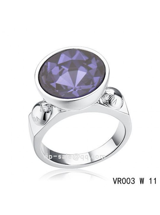 Louis Vuitton inclusion art deco Ring in white gold with purple SWAROVSKI crystals