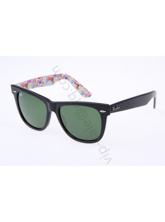 Ray Ban Wayfarer RB2140 54-18 Button Pins Sunglasses in Black 1052