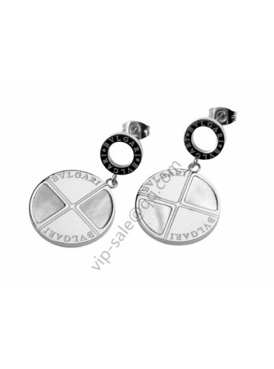 Bvlgari Earrings in 18kt White Gold with Mother of Pearl