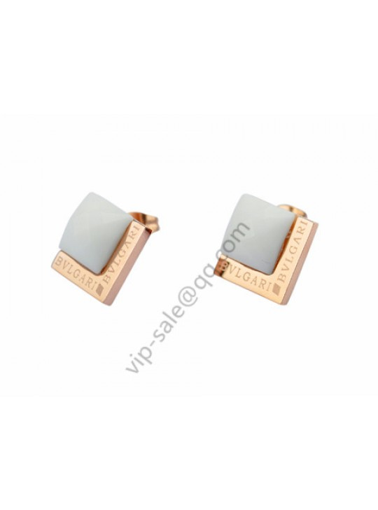 Bvlgari Double Square Earrings in 18kt Pink Gold with White Ceramic