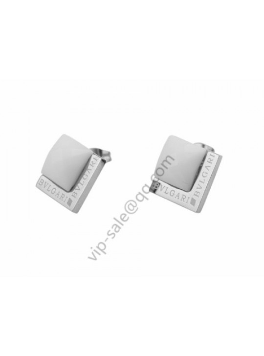 Bvlgari Double Square Earrings in 18kt White Gold with White Ceramic
