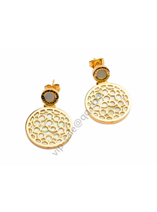 Bvlgari Earrings in 18kt Yellow Gold with Mother of Pearl
