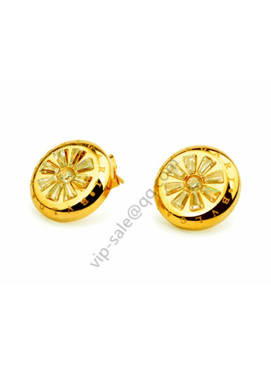 Bvlgari Plum flower earrings in 18 kt yellow gold replica