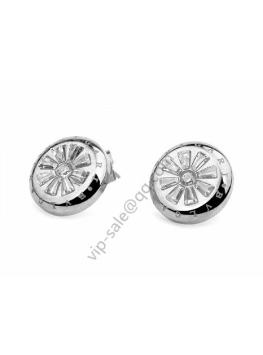 Bvlgari Plum flower earrings in 18 kt white gold replica