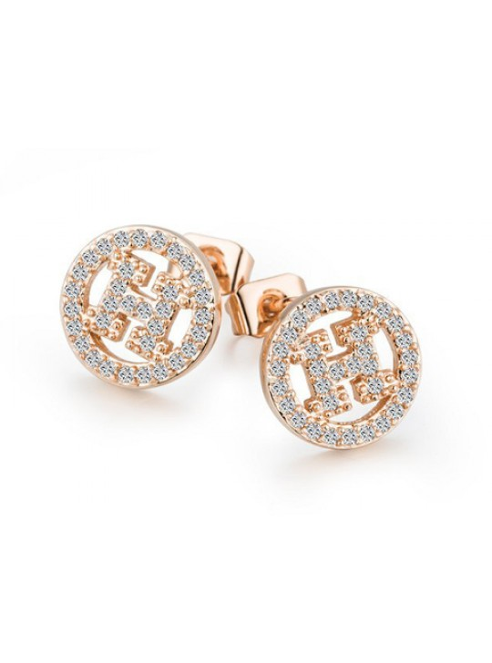 Hermes H Hollow with diamond in pink gold earrings replica