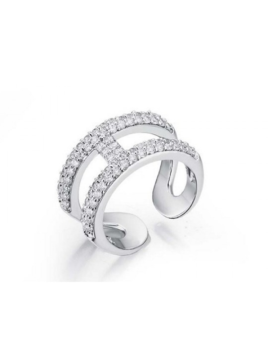 Hermes H Hollow in white gold ring replica