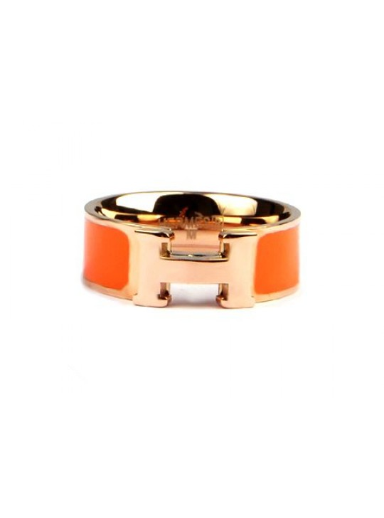 Hermes Clic H Ring in 18kt Pink Gold with Orange Enamel wholesale