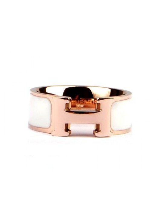 Hermes Clic H Ring in 18kt Pink Gold with White Enamel replica