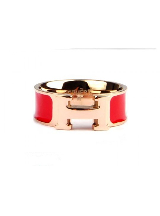 Hermes Clic H Ring in 18kt Pink Gold with Red Enamel wholesale