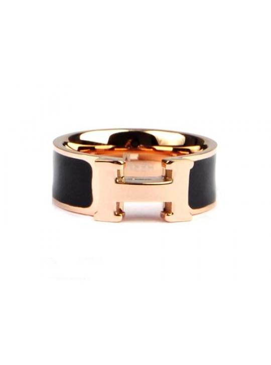 Hermes Clic H Ring in 18kt Pink Gold with Black Enamel