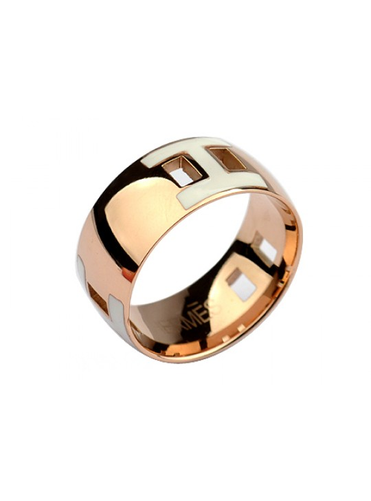 Hermes H Ring in 18kt Pink Gold with White Enamel replica