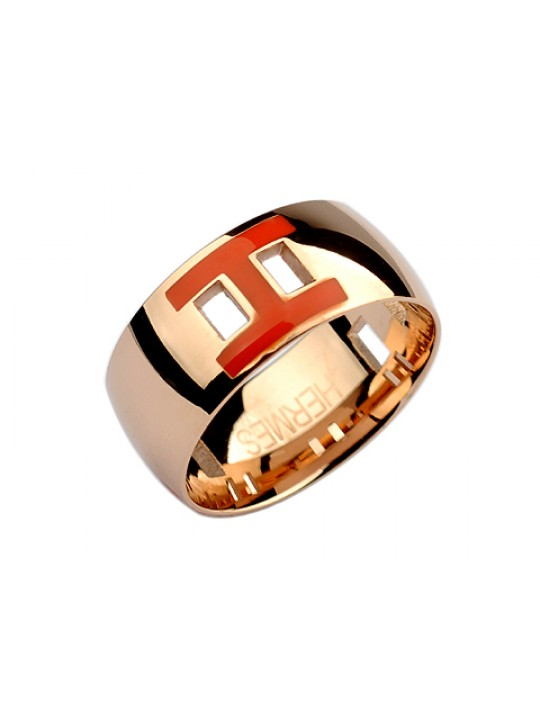 Hermes H Ring in 18kt Pink Gold with Orange Enamel wholesale