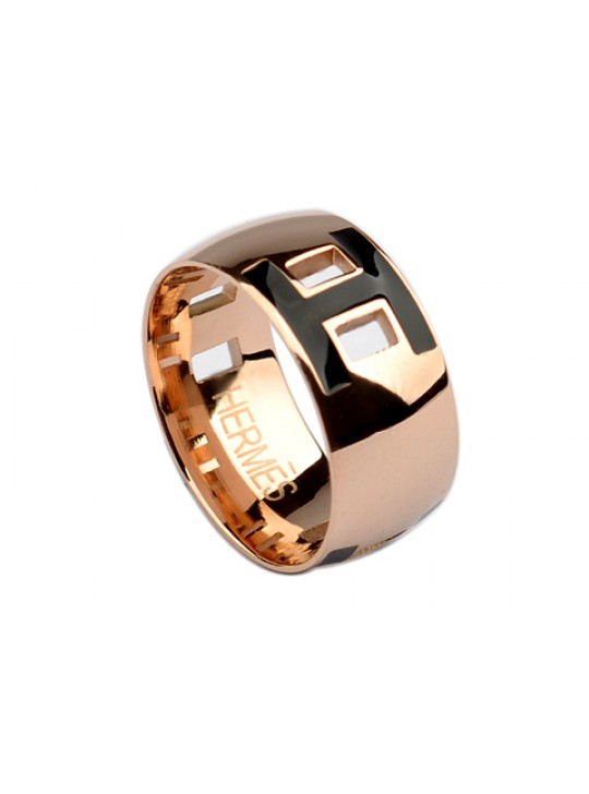Hermes H Ring in 18kt Pink Gold with Black Enamel replica