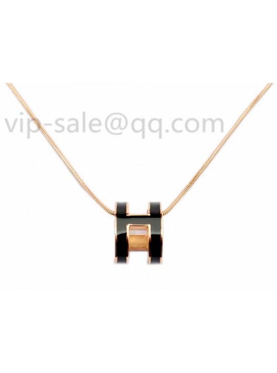 Hermes black H logo in rose necklace replica
