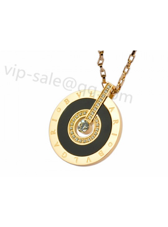 Bvlgari Necklace in 18kt Yellow Gold with Diamonds and Black Mother of Pearl