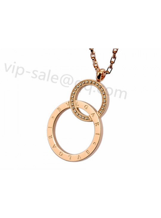 Bvlgari Two Rings Necklace in 18kt Pink Gold with Diamonds