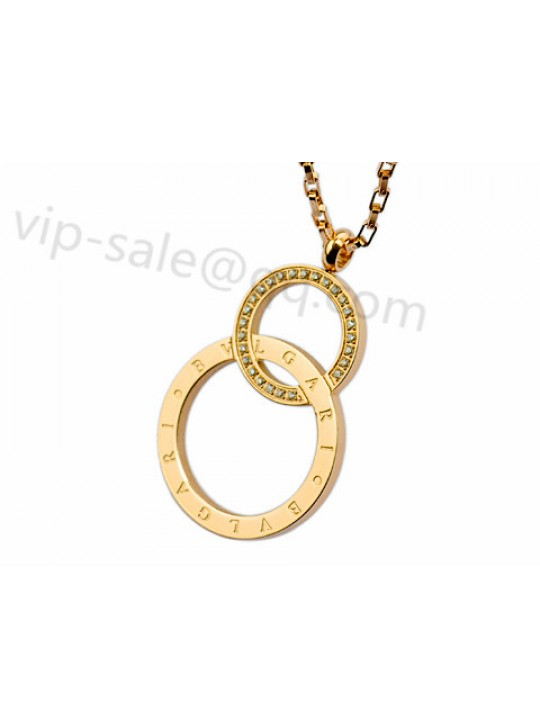 Bvlgari Two Rings Necklace in 18kt Yellow Gold with Diamonds