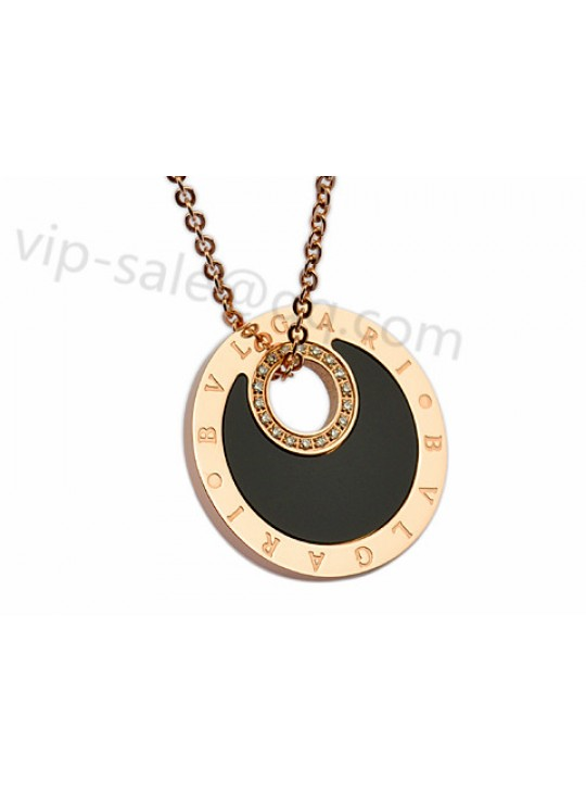 Bvlgari Necklace in 18kt Pink Gold with Diamonds and Black Mother of Pearl