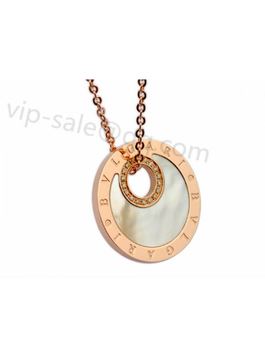 Bvlgari Necklace in 18kt Pink Gold with Diamonds and Mother of Pearl