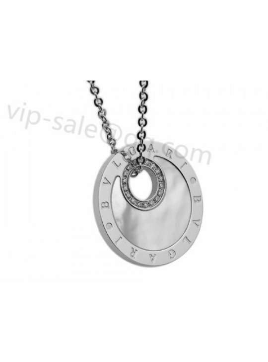 Bvlgari Necklace in 18kt White Gold with Diamonds and Mother of Pearl