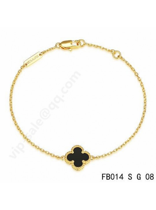 Van Cleef & Arpels Sweet Alhambra bracelet in yellow gold with Black Onyx