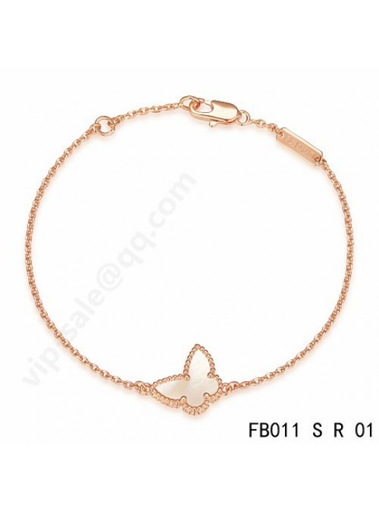 Van Cleef & Arpels Sweet Alhambra Butterfly bracelet in pink gold with mother-of-pearl
