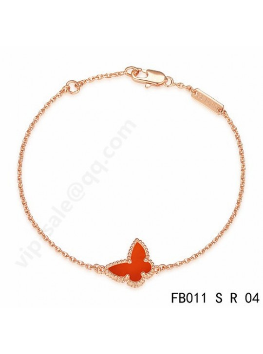 Van Cleef & Arpels Sweet Alhambra Butterfly bracelet in pink gold with Carnelian