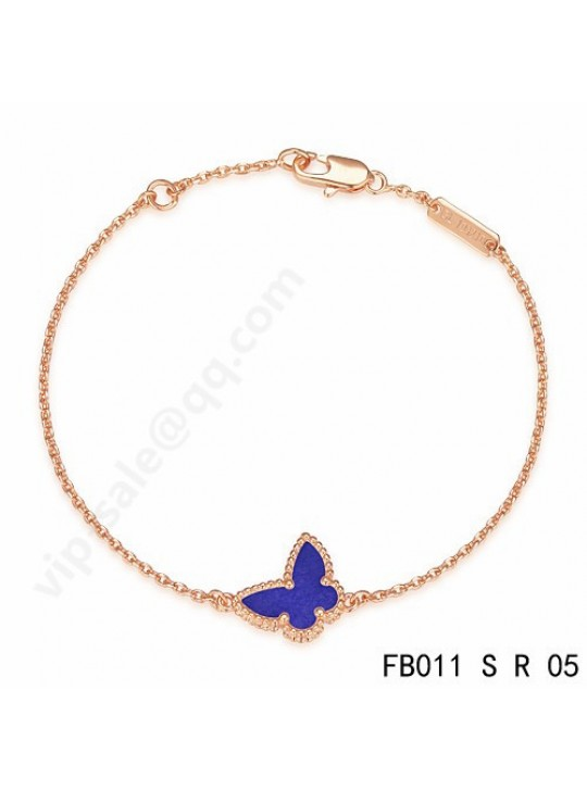 Van Cleef & Arpels Sweet Alhambra Butterfly bracelet in pink gold with lapis lazuli