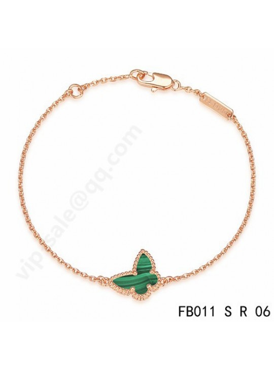 Van Cleef & Arpels Sweet Alhambra Butterfly bracelet in pink gold with Malachite