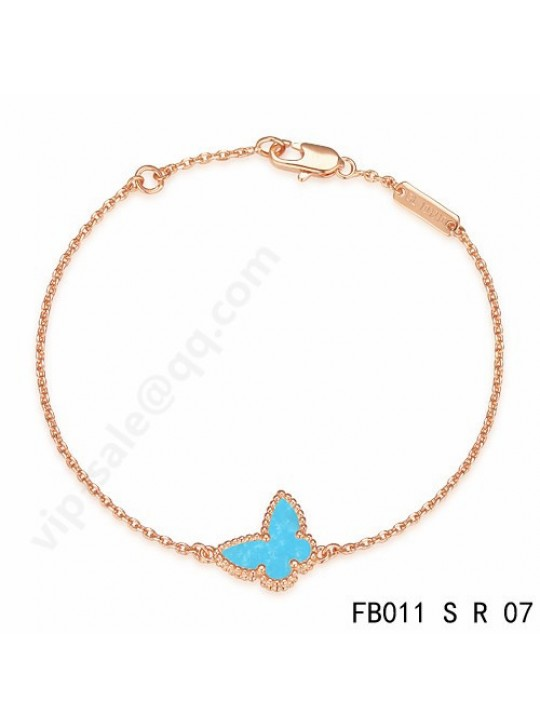 Van Cleef & Arpels Sweet Alhambra Butterfly bracelet in pink gold with Turquoise