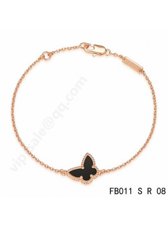 Van Cleef & Arpels Sweet Alhambra Butterfly bracelet in pink gold with Onyx