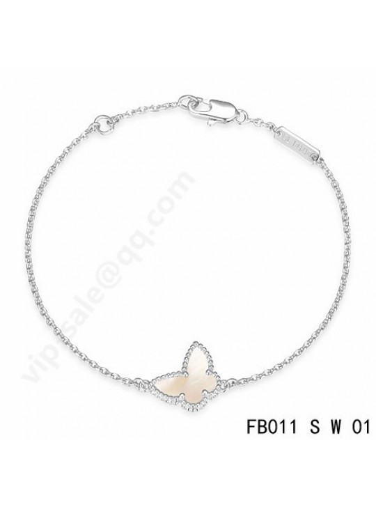 Van Cleef & Arpels Sweet Alhambra Butterfly bracelet in white gold with mother-of-pearl