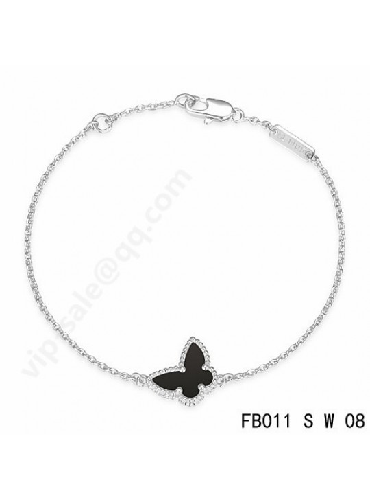 Van Cleef & Arpels Sweet Alhambra Butterfly bracelet in white gold with Onyx