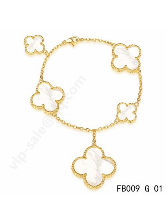 Van Cleef & Arpels Magic Alhambra bracelet in yellow gold with mother-of-pearl