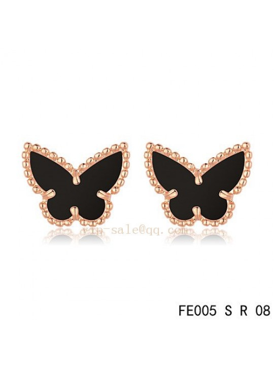 Van Cleef & Arpels Butterflies earrings in pink gold with Onyx