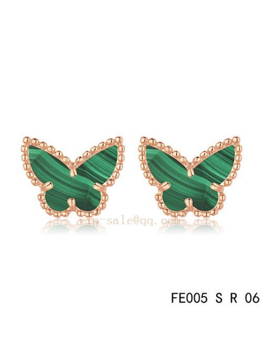 Van Cleef & Arpels Butterflies earrings in pink gold with Malachite