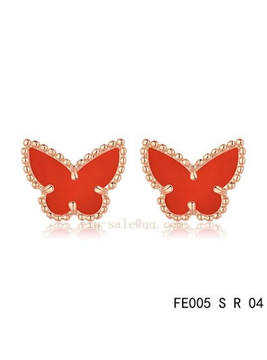 Van Cleef & Arpels Butterflies earrings in pink gold with Carnelian