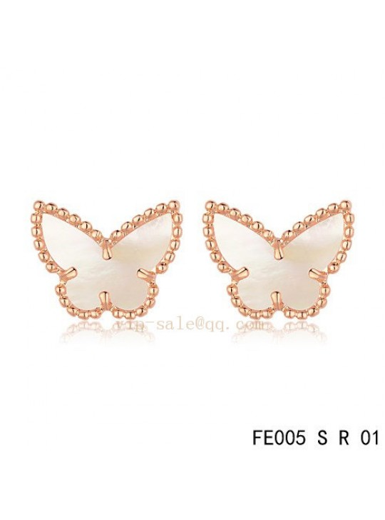 Van Cleef & Arpels Butterflies earrings in pink gold with White mother of pearl