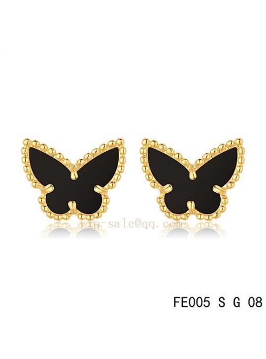 Van Cleef & Arpels Butterflies earrings in yellow gold with Onyx