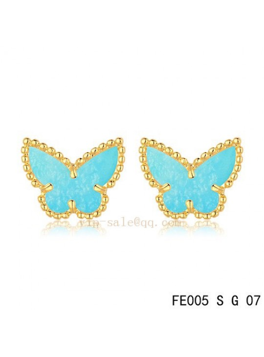 Van Cleef & Arpels Butterflies earrings in yellow gold with Turquoise