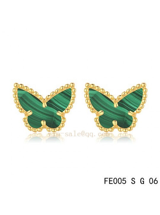 Van Cleef & Arpels Butterflies earrings in yellow gold with Malachite