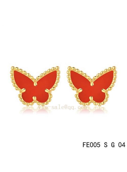 Van Cleef & Arpels Butterflies earrings in yellow gold with Carnelian