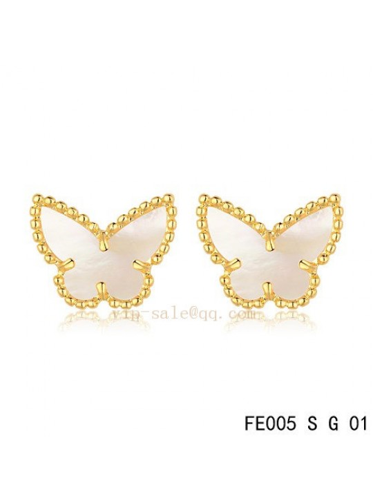 Van Cleef & Arpels Butterflies earrings in yellow gold with White mother of pearl
