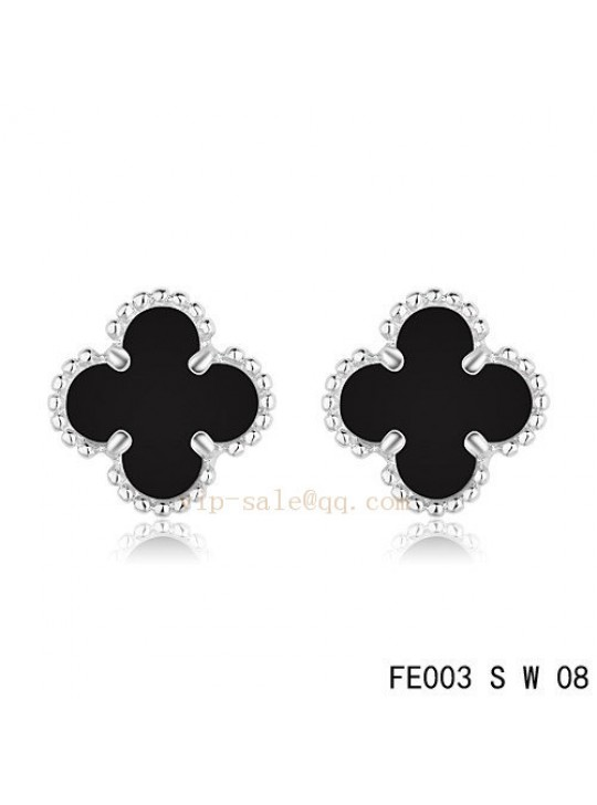 Van Cleef & Arpels Clover earrings in white gold with Onyx