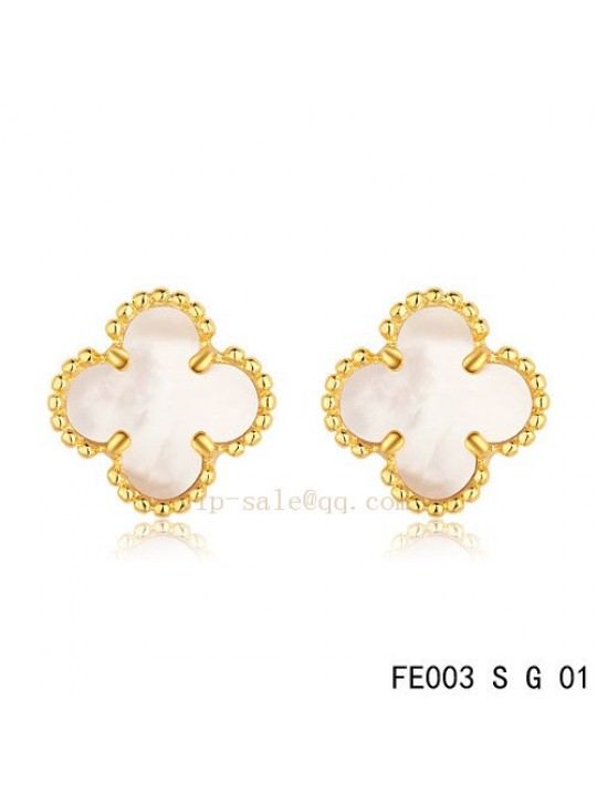 Van Cleef Arpels Clover Earrings In Yellow Gold With White Mother Of Pearl
