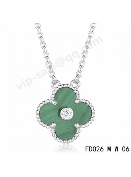 e4f1b0daaa Van cleef   arpels Vintage Alhambra pendant in white gold with Malachite  and Diamond