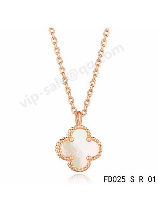 Van cleef & arpels Vintage Alhambra pendant in pink gold with white Mother-of-pearl